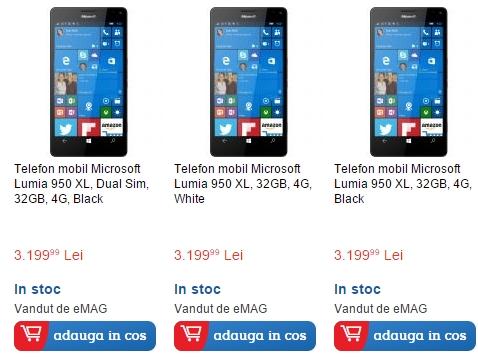 Phablet-ul Microsoft Lumia 950 XL disponibil de astăzi în oferta eMAG.ro la un preț de 3.199 lei