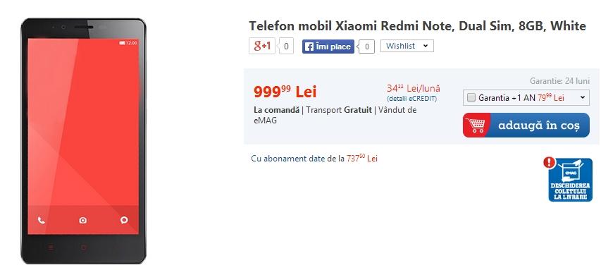 Xiaomi Redmi Note disponibil acum prin eMAG.ro la un preț de 999 lei