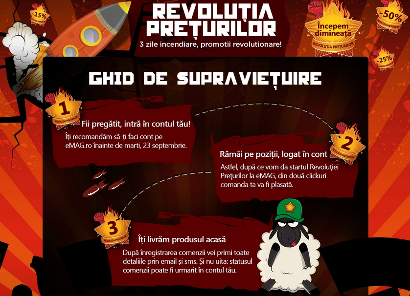 eMAG pregătește campania de reduceri Revoluția Prețurilor; trei zile cu promoții revoluționare începând de mâine!