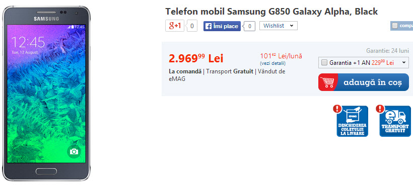 Samsung Galaxy Alpha disponibil la comandă și prin eMAG.ro la un preț de 3.000 lei
