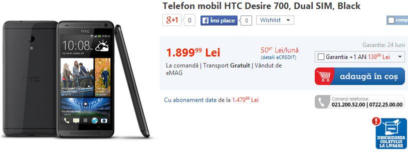 Pret HTC Desire 700 la eMAG