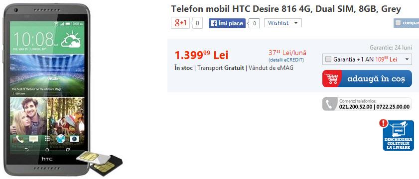 Pret HTC Desire 916 la eMAG.ro