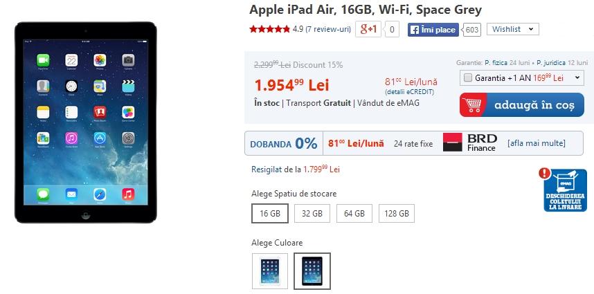 eMAG oferă 15% reducere pentru tabletele iPad Air și iPad Mini Retina