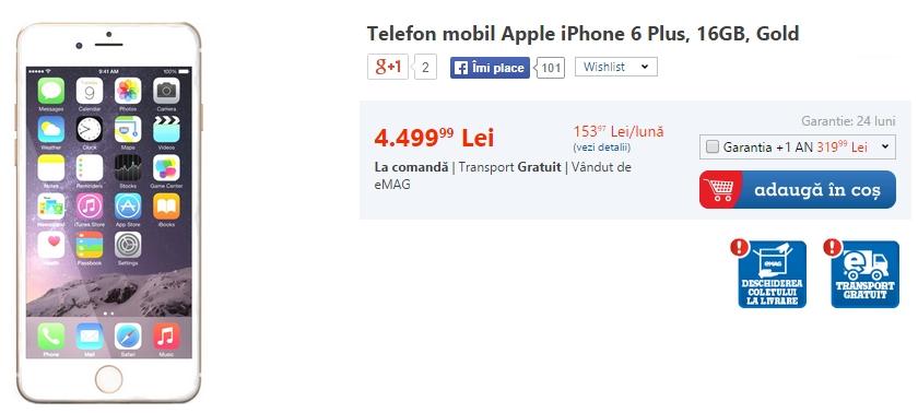 iPhone 6 Plus disponibil și el la comandă prin eMAG.ro