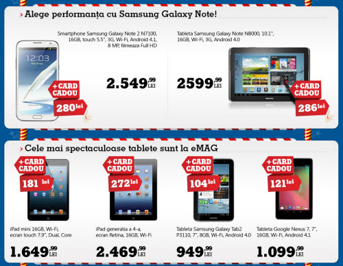 iPad mini si Galaxy Note II la reducere