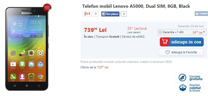 Lenovo A5000 sosește la eMAG; telefon cu baterie de 4.000 mAh și preț de 739 lei
