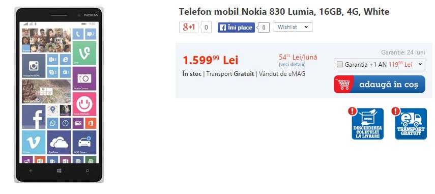 Nokia Lumia 830 ajunge la eMAG; disponibil pe alb sau negru la un preț de 1.599 lei