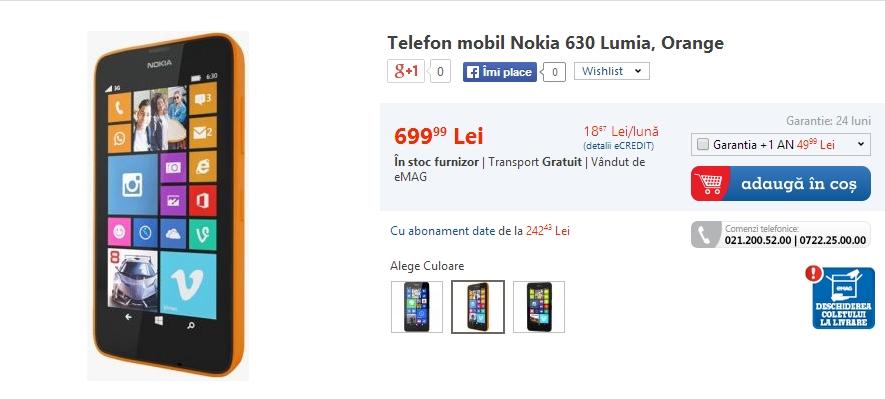 Nokia Lumia 630 disponibil Începând de astăzi pe plan local prin intermediul eMAG.ro
