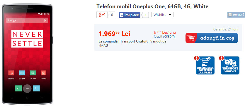 Pret OnePlus One in Romania (eMAG)