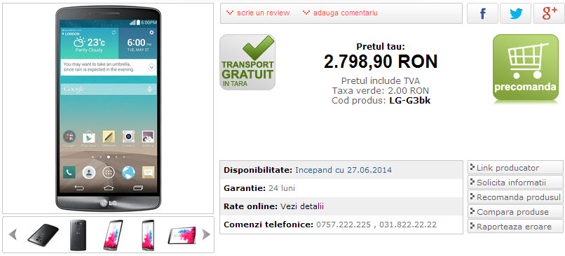 Pret LG G3 Marketonline