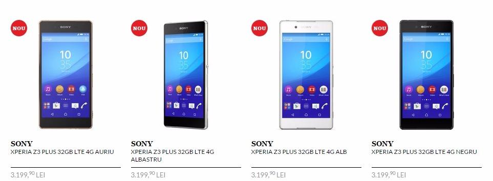 Pret Sony Xperia Z3 Plus