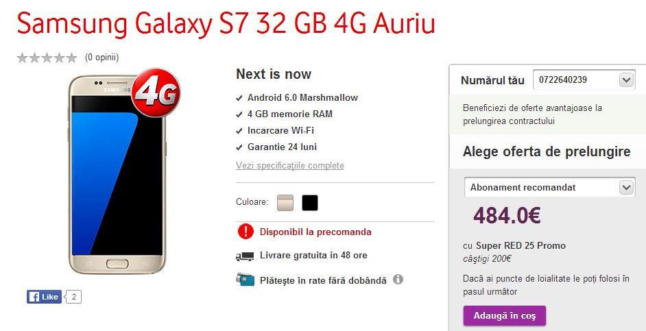 Vodafone România oferă de azi de la ora 21:00 precomenzi pentru Galaxy S7 şi Galaxy S7 Edge