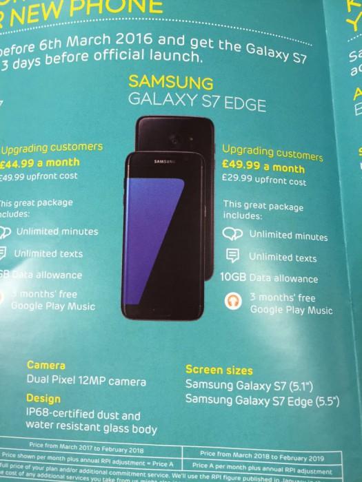 Samsung Galaxy S7 şi Galaxy S7 Edge au precomenzile, preţurile la abonament şi accesoriile detaliate în materiale promoţionale