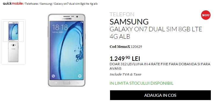 Samsung Galaxy On7 este disponibil la QuickMobile; phablet de 5.5 inch cu dotări mid-range