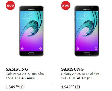 Samsung Galaxy A3 (2016) sosește în oferta QuickMobile; este vândut la un preț de 1.549 lei