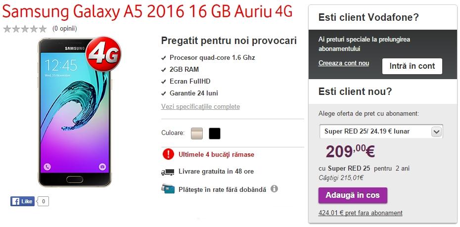 Samsung Galaxy A5 (2016), de astăzi și în oferta Vodafone; costă 1.900 lei fără abonament