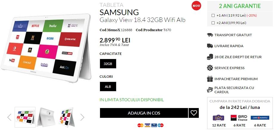 Samsung Galaxy View, tableta gigant cu display de 18.4 inch ajunge în stocul celor de la QuickMobile.ro