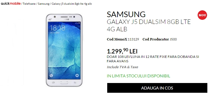 Samsung Galaxy J5, telefon cu bliț frontal sosește în stocul celor de la QuickMobile.ro