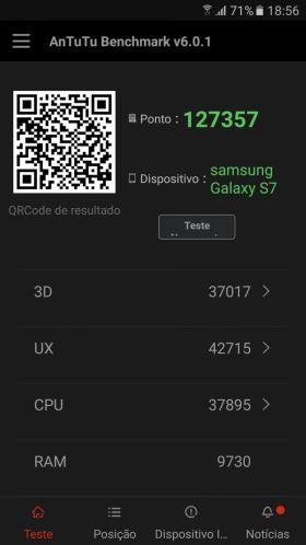 Samsung Galaxy S7 varianta Exynos, benchmark AnTuTu