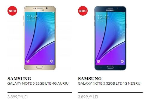 Samsung Galaxy Note 5 și primele prețuri din România; phablet-ul este disponibil prin QuickMobile