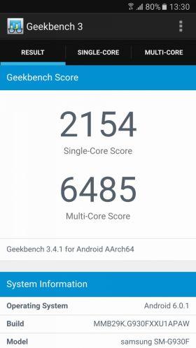 Samsung Galaxy S7 varianta Exynos, bechmark Geekbench 3