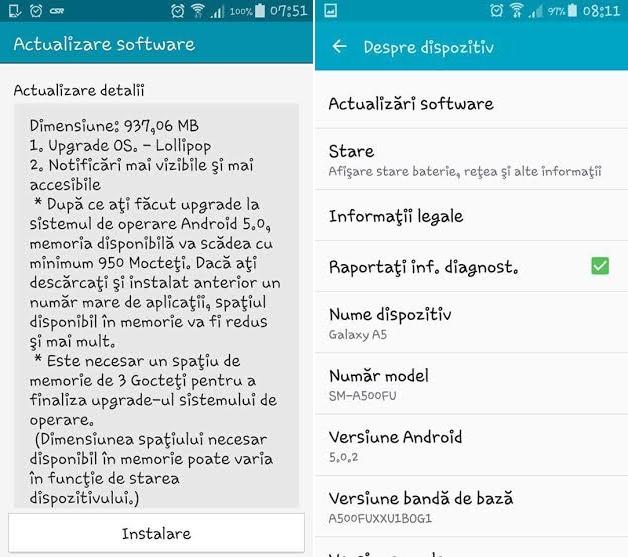Telefonul metalic Samsung Galaxy A5 primește Android 5.0.2 Lollipop în România