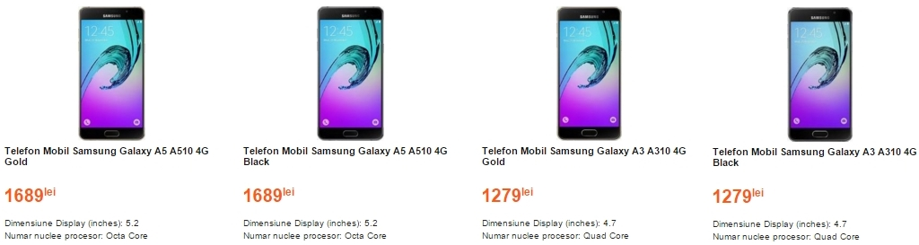 Samsung Galaxy A3 (2016) și Galaxy A5 (2016) ajung în stocurile Cel.ro; modelul de 4.7 inch costă 1.279 lei