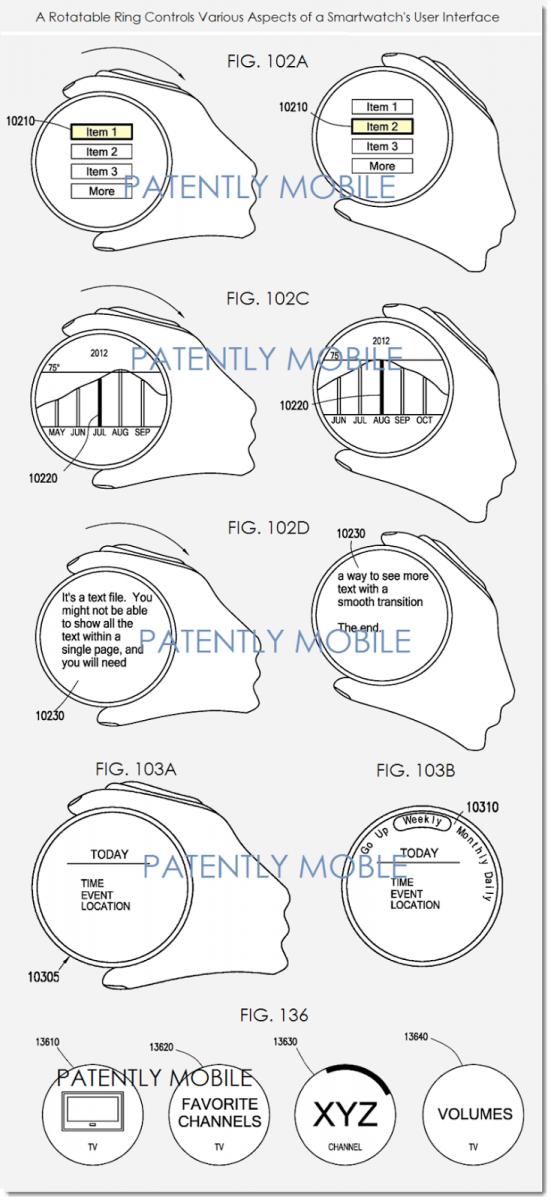 Noi brevete Samsung detaliază un smartwatch cu interfața circulară, noi gesturi de control și un inel touch in jurul gadgetului