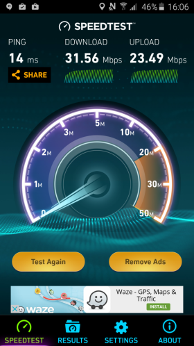Samsung Galaxy A7 (2016) speedtest