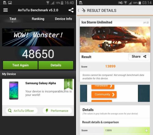Benchmarkuri Samsung Galaxy Alpha
