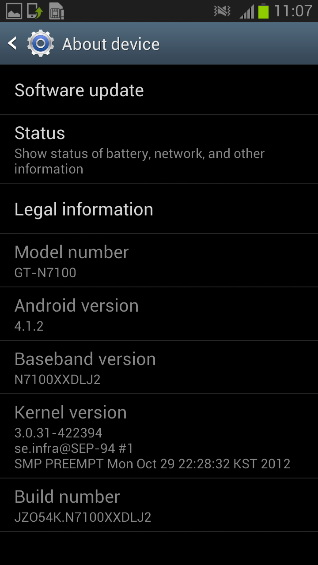 Samsung Galaxy Note II primește actualizarea la Android 4.1.2