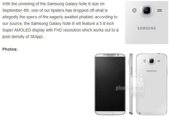 Imagine În premieră cu Samsung Galaxy Note 3, Într-o presupusă randare de presă!