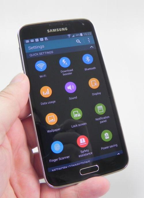 Zona de setari a lui Samsung Galaxy S5