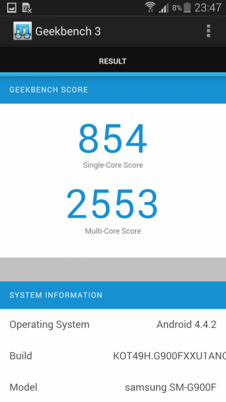 Samsung Galaxy S5 - Benchmark GeekBench 3