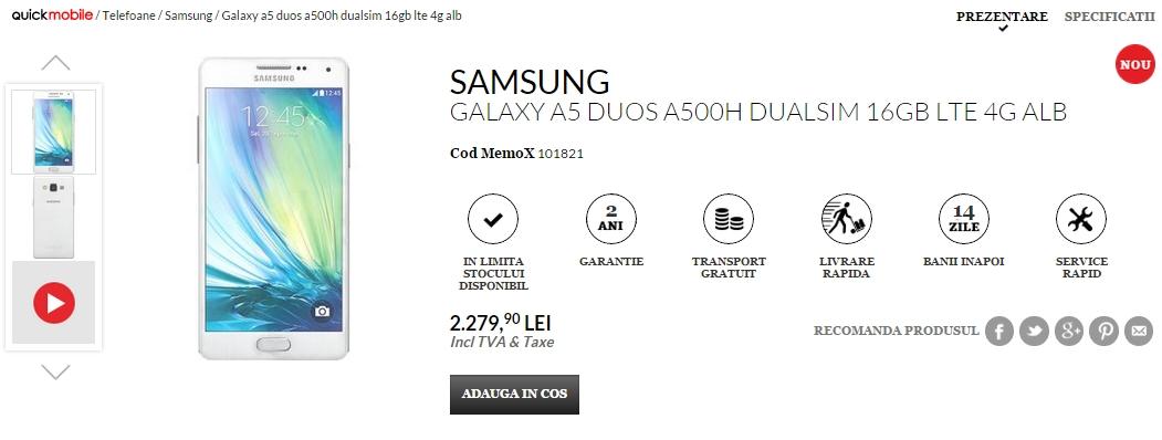 Samsung Galaxy A5 ajunge În stocurile QuickMobile.ro la prețul de 2.279 lei