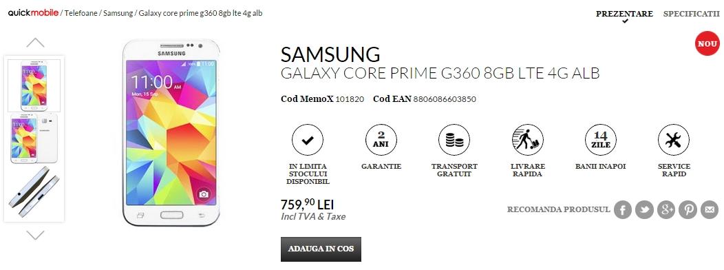 Samsung Galaxy Core Prime disponibil În stocurile QuickMobile la prețul de 759 lei