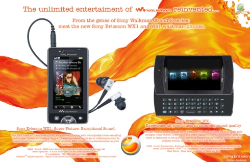 Sony Ericsson WX1 si WS1, telefonul Walkman reinventat sub forma de concept