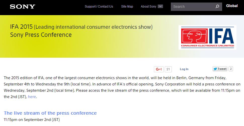 IFA 2015: Conferința Sony de la IFA 2015, poate fi urmărita Live aici!