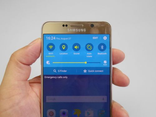 Samsung Galaxy Note 5 quick settings