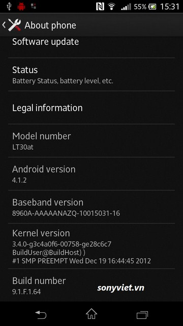 Sony Xperia T Android 4.1.2 Jelly Bean