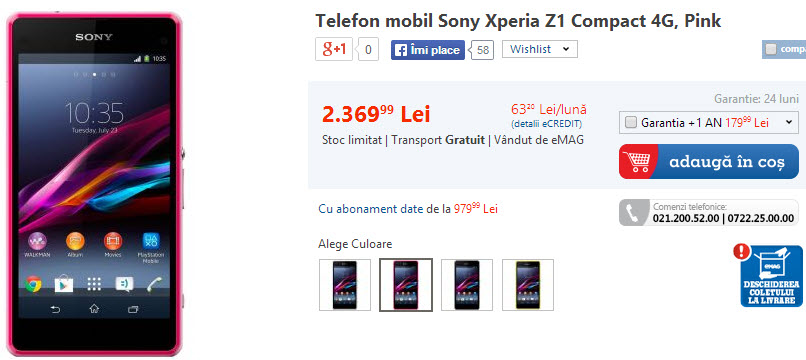 Sony Xperia Z1 Compact disponibil acum și pe roz prin intermediul eMAG.ro