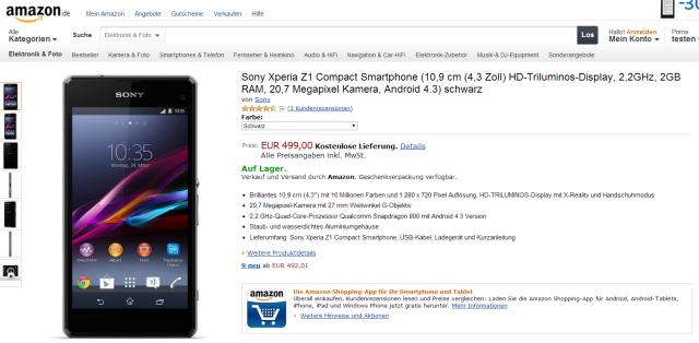Sony Xperia Z1 Compact se livrează deja În Germania și UK