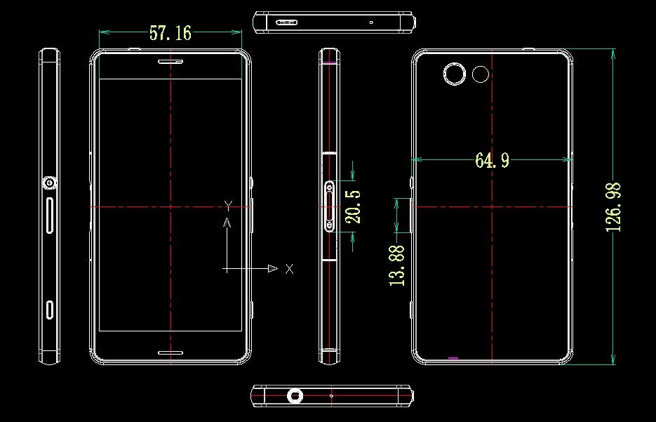 Dimensiunile lui Sony Xperia Z3 dezvăluite de o serie de schițe, Împreună cu mărimea lui Xperia Z3 Compact