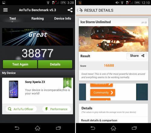 Sony Xperia Z3 benchmarks