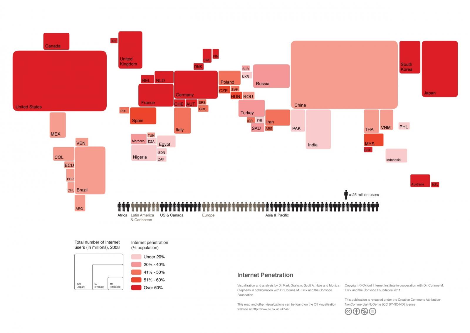 Cum ar arăta harta lumii dacă țările ar fi la fel de mari ca numărul de utilizatori online