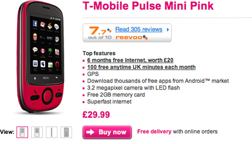 Telefoane Android de 34 de euro - T-Mobile Pulse Mini, pe roz și negru