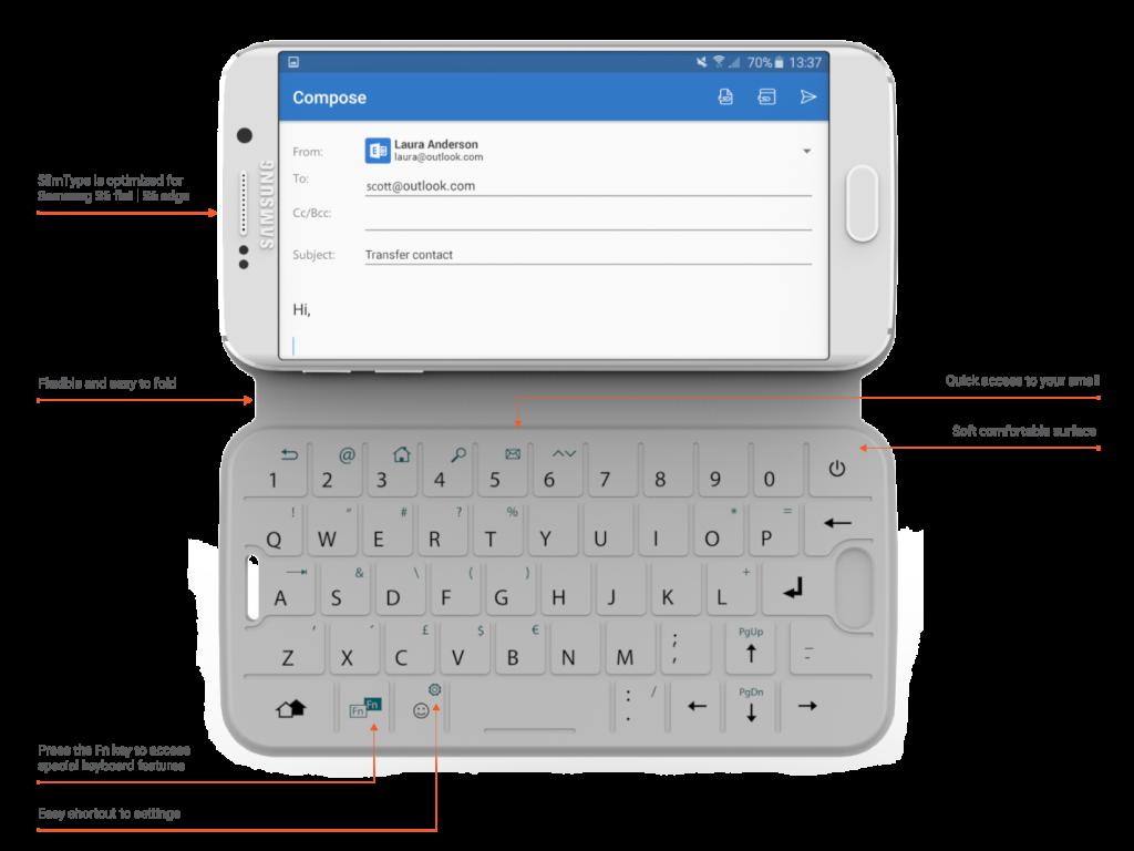 One2Touch SlimType este o husă de telefon cu suport NFC şi tastatură slim integrată