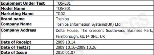 Toshiba TG02 FCC Doc