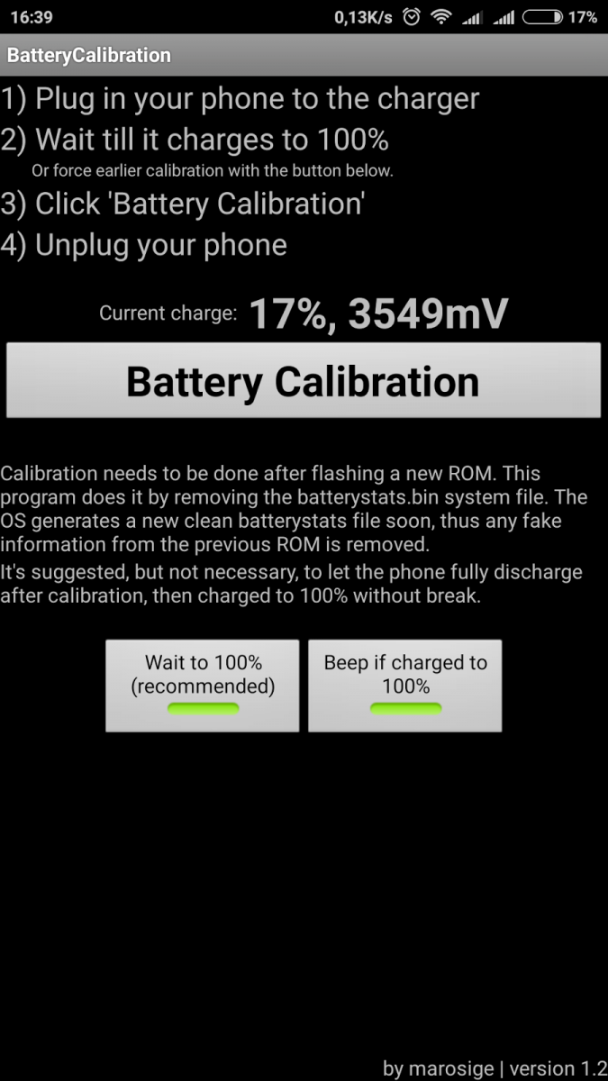 Calibrare Baterie Interfata Android