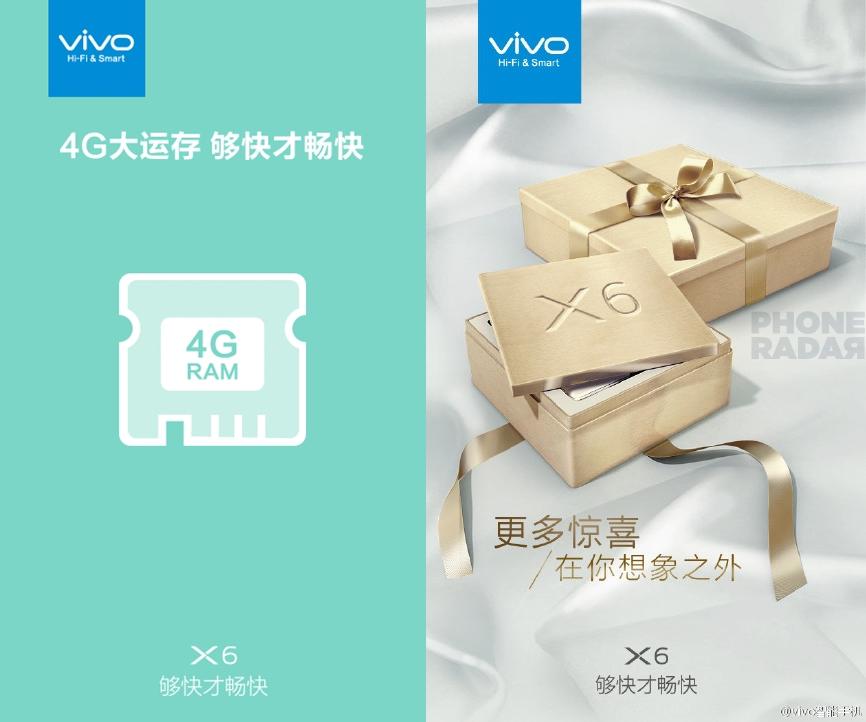 Vivo X6 va sosi cu 4 GB RAM la bord, și cu un chip dedicat de 1 GB memorie video; vedem și o nouă imagine cu acesta
